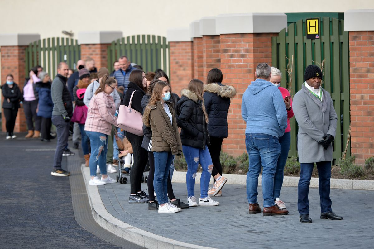 Shoppers arrive at the newly-opened McArthur Glen designer outlet at Cannock