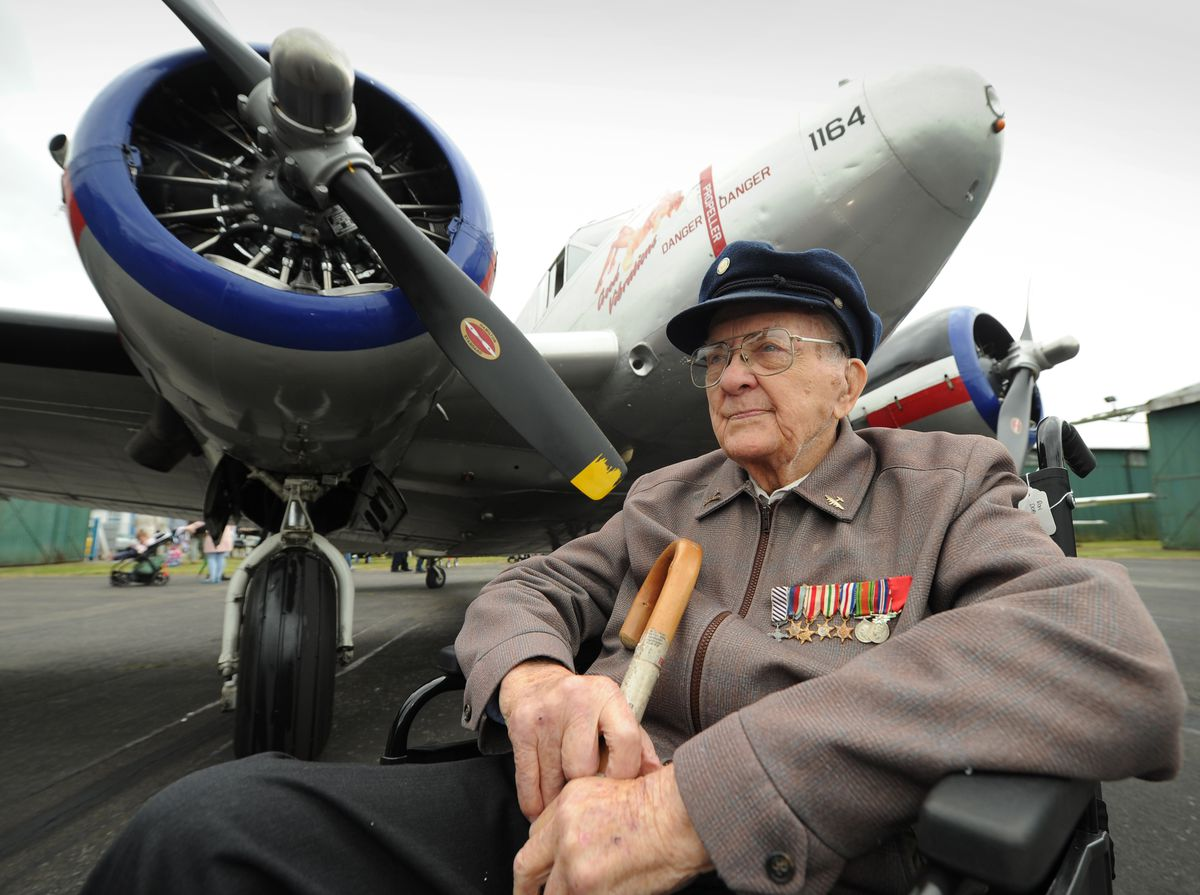 Veteran rear gunner Clifford Watson, aged 96, of Cambridge, during an event at Wolverhampton Halfpenny Green Airport