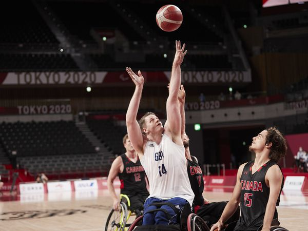 Lee Manning competing at Men's Wheelchair Basketball Quarter-Final.