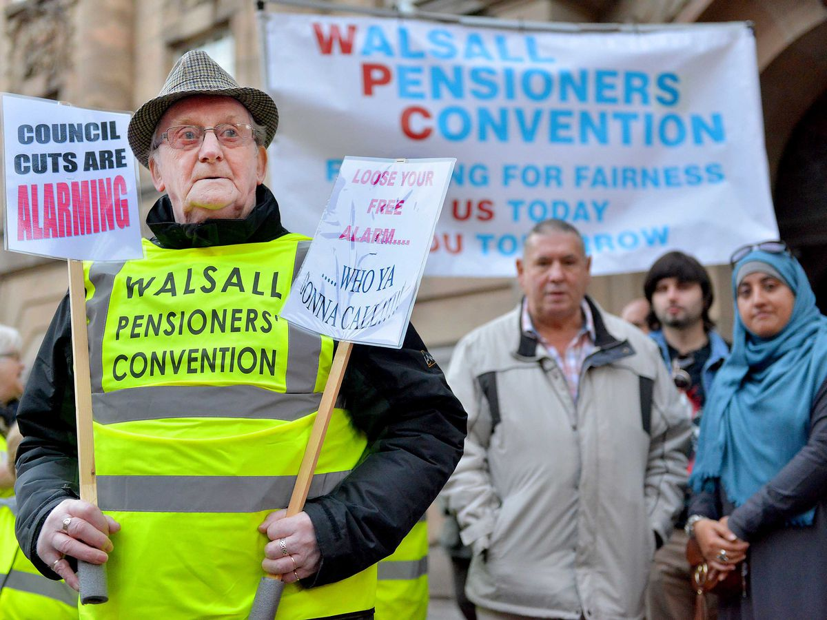 Graham Garbett, the chair of Walsall Pensiors Convention, led the protest on Wednesday in an attempt to save Walsall's alarm service
