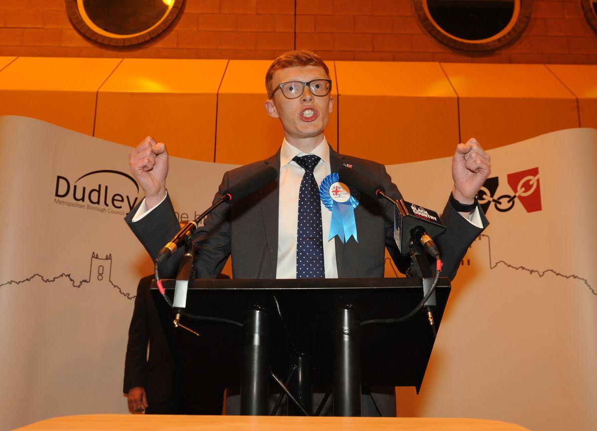 Teenager Joe Roberts speaks after winning Halesowen North from UKIP's Stuart Henley
