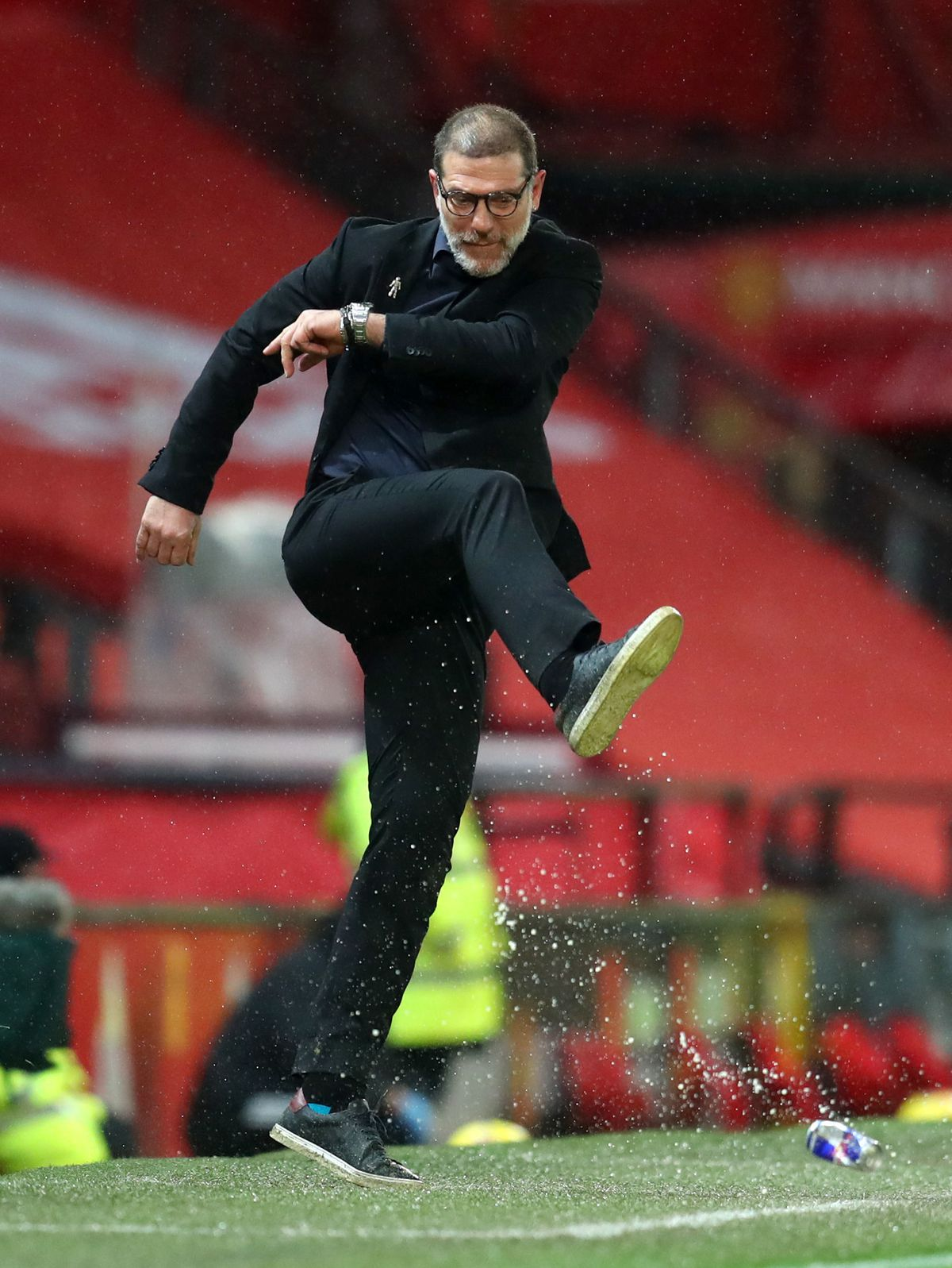 West Bromwich Albion manager Slaven Bilic kicks a can on the touchline