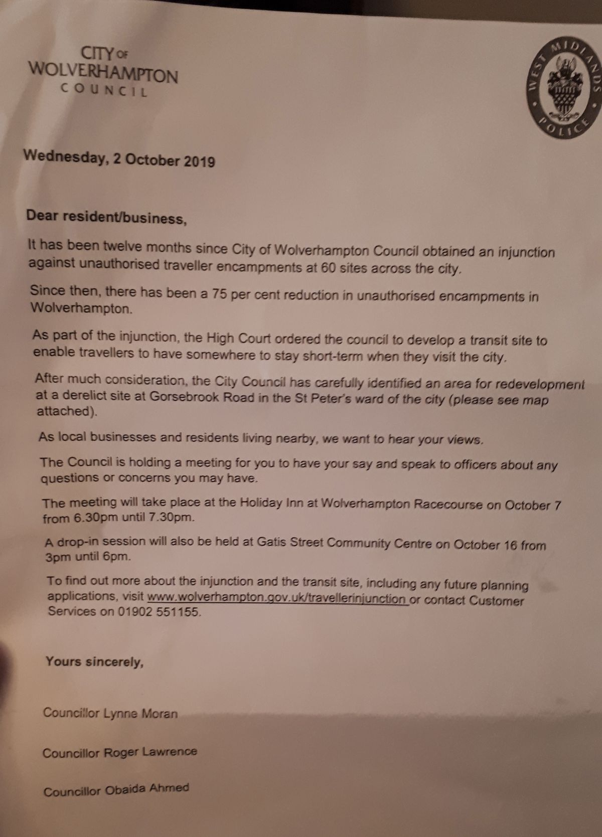 The letter sent to residents informing them of the plans