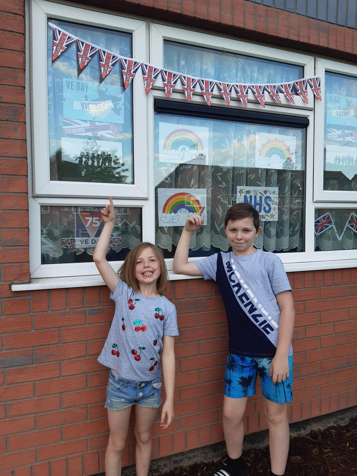The Halls siblings with their decorations in Mackay Road, Bloxwich