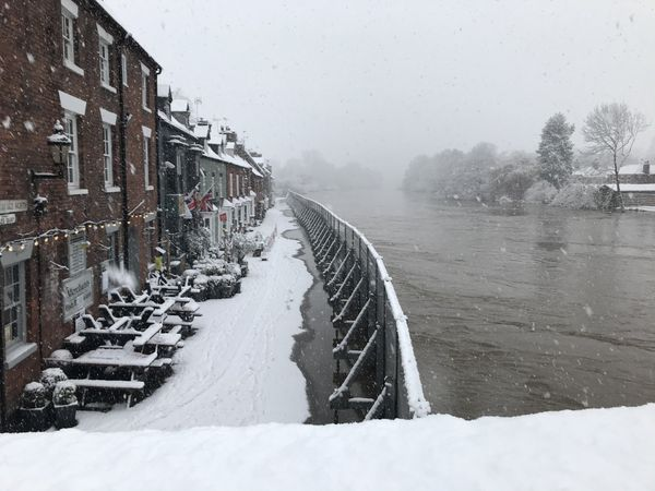 Snow next to the flood barriers in Bewdley on Sunday. Photo: Environment Agency