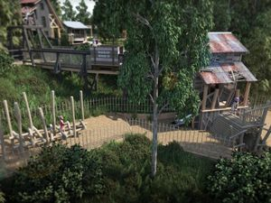 CGI image of a section of the new 'Madeley Wood Company Outdoor Adventure' at Blists Hill Victorian Town
