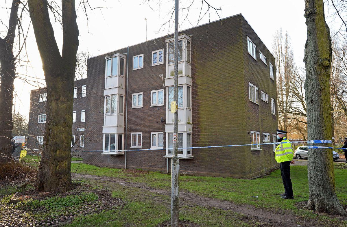 The police cordon in Wolverhampton