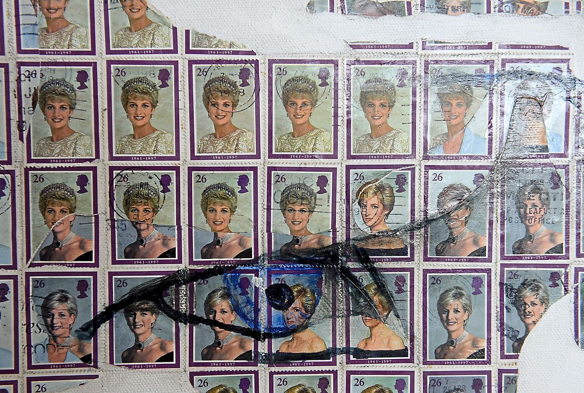 Artist Pete Mason has created artwork of Prince Harry which he has made entirely from Princess Diana stamps