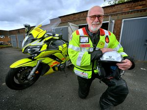 Midland Freewheelers Blood Bikes volunteer John Pearce. He turns 75 next month and has completed over 1,000 shifts for Blood Bikes
