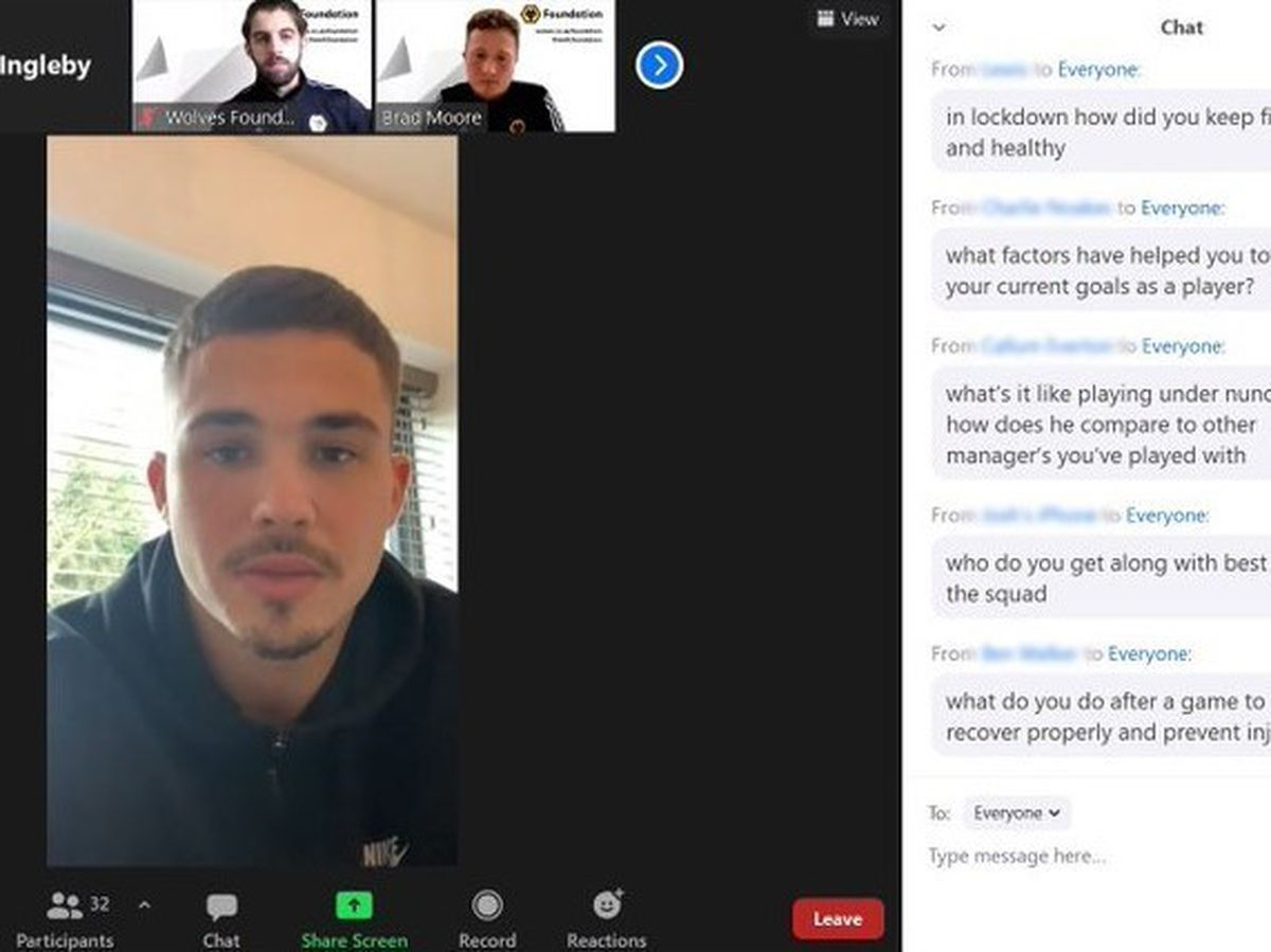A group of sports students from Telford College got chance to speak to Wolves star Leander Dendoncker this week in an exclusive Zoom link to the club's training ground