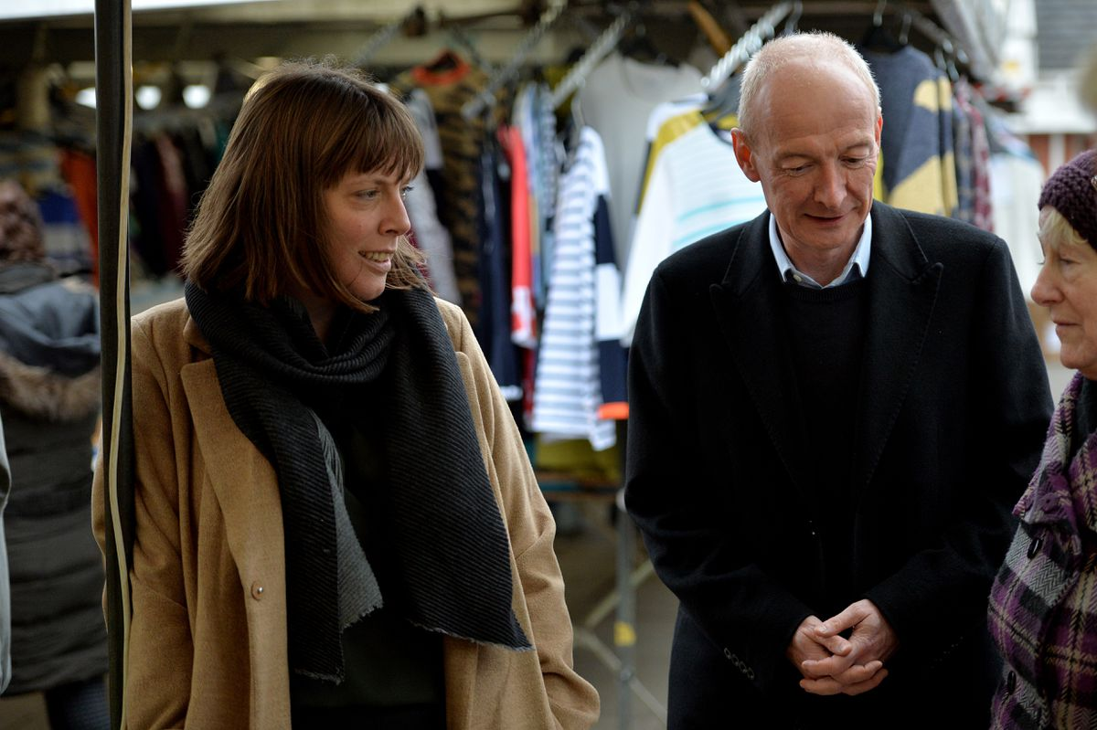 Labour leadership candidate Jess Phillips visiting Bilston with Pat McFadden.