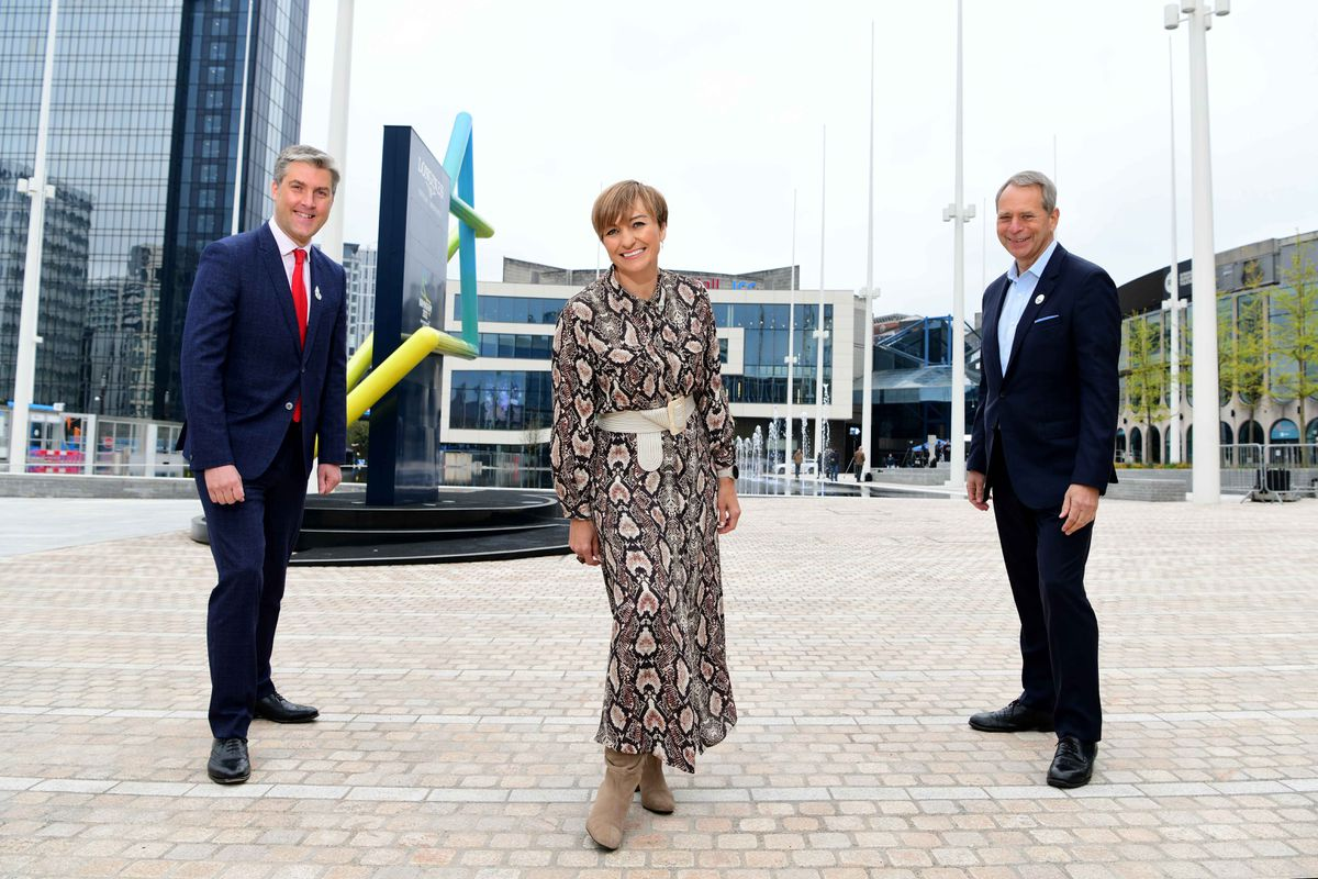 Ian Reid, chief executive of the games organising committee, left; Nicola Turner, games director of legacy and Kevin Ellis