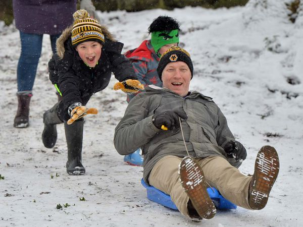 Sledgers enjoying the snow in Tettenhall