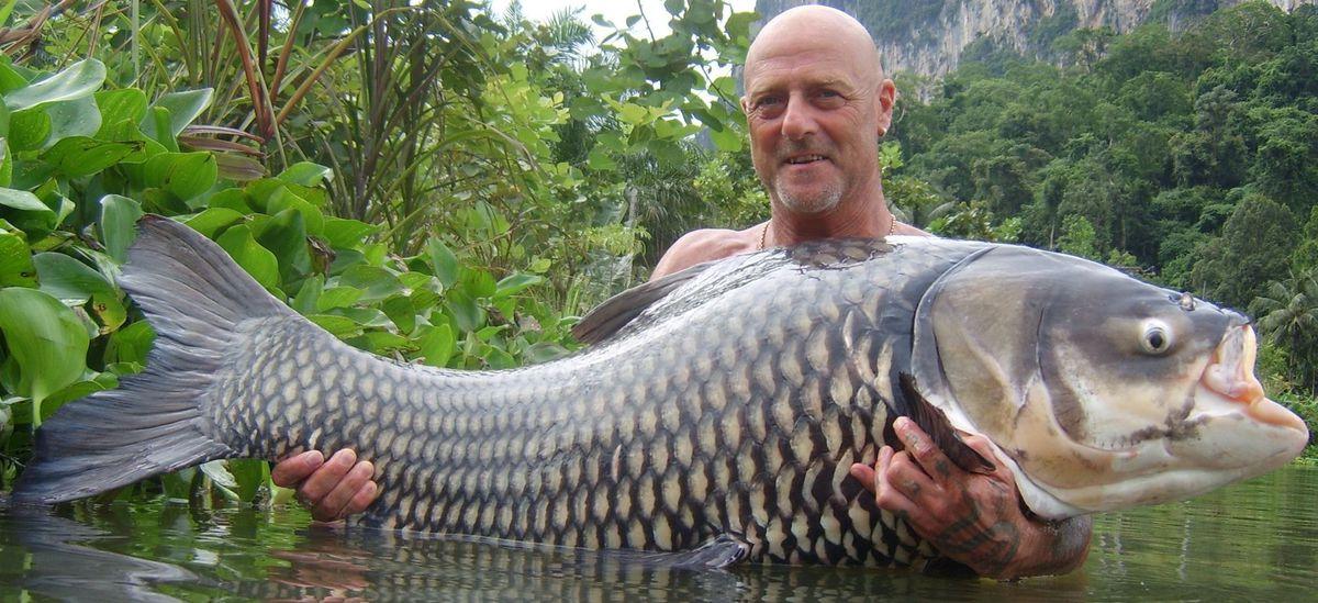 Hodgkinson holds a 100lb Siamese carp