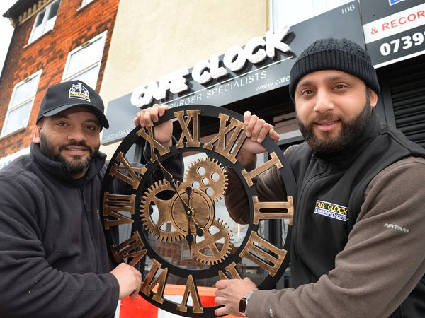 Cousins Hassan Khan and Mehtab Iqbal who are soon to open a new burger bar called Cafe Clock, in Stafford Street, Walsall