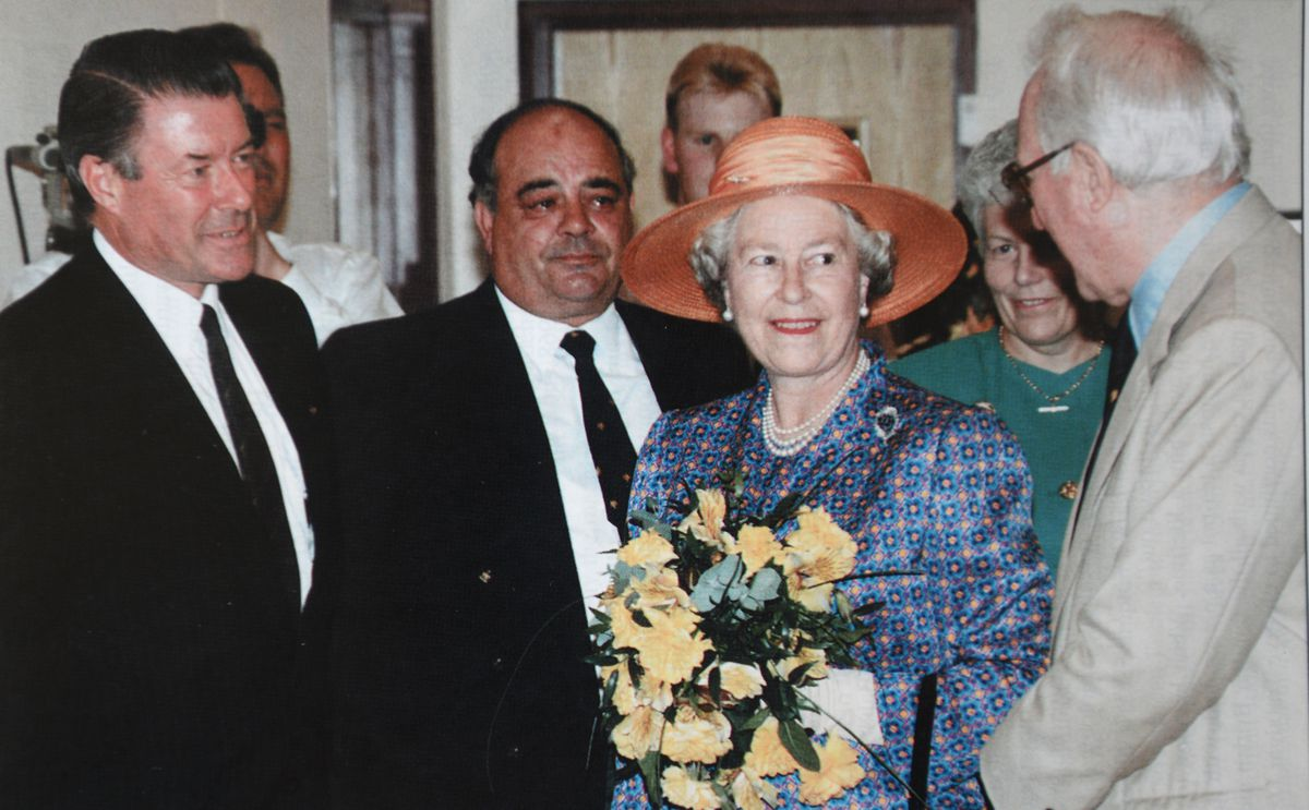 The Queen officially opens Molineux, with Sir Jack Hayward, Wolverhampton Wanderers colleagues, and (left) architect Alan Cotterell,