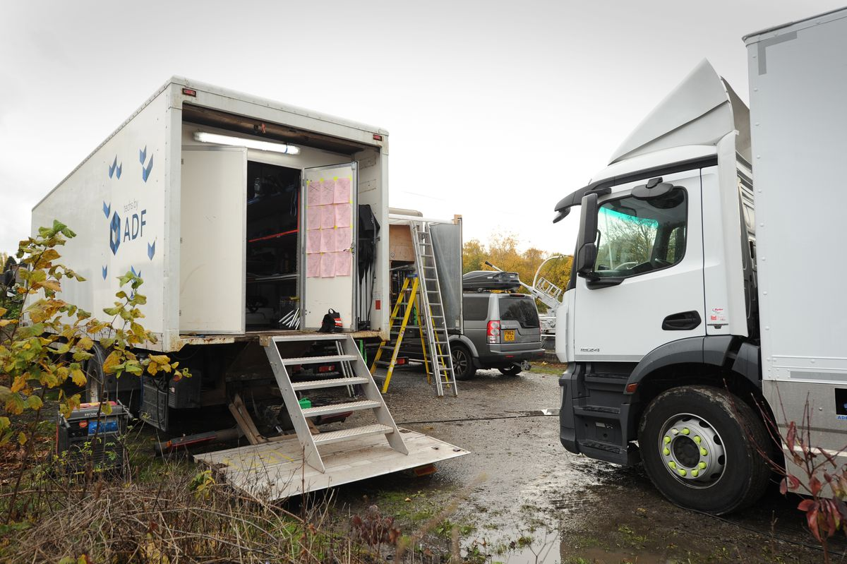 Production trucks have pulled up onto the museum site