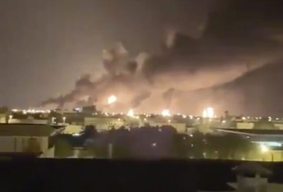 Smoke fills the sky at the Abqaiq oil processing facility after the attack (UGC/AP)
