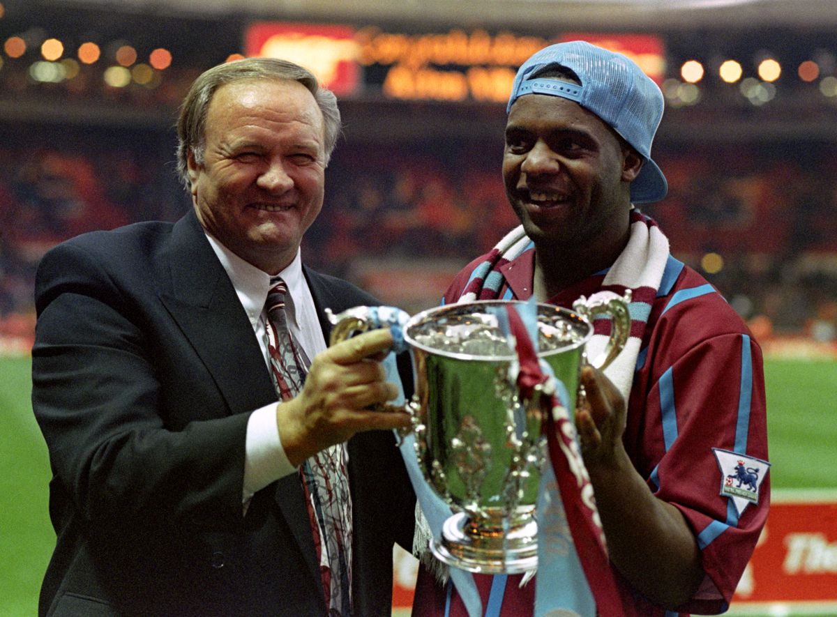 Dalian Atkinson with then-Villa manager Ron Atkinson after winning the Coca-Cola cup in 1994