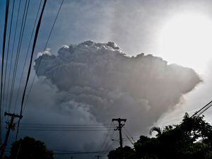 Ash rises into the air as La Soufriere volcano erupts on the eastern Caribbean island of St Vincent