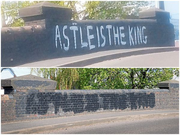 Over the years, variations on the words 'Astle is king' have appeared – and been removed – from the bridge