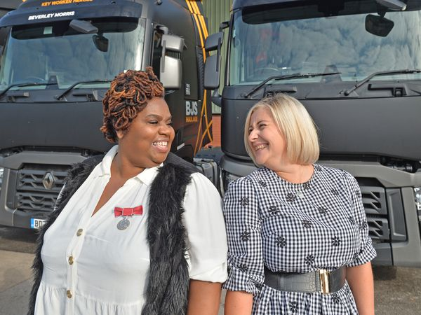 BJS Haulage, a logistics company based in Wednesbury, renamed their new fleet of trucks after a group of keyworkers that played a pivotal role in the pandemic.Pictured, left, Beverley Morris BEM and Louise Newton