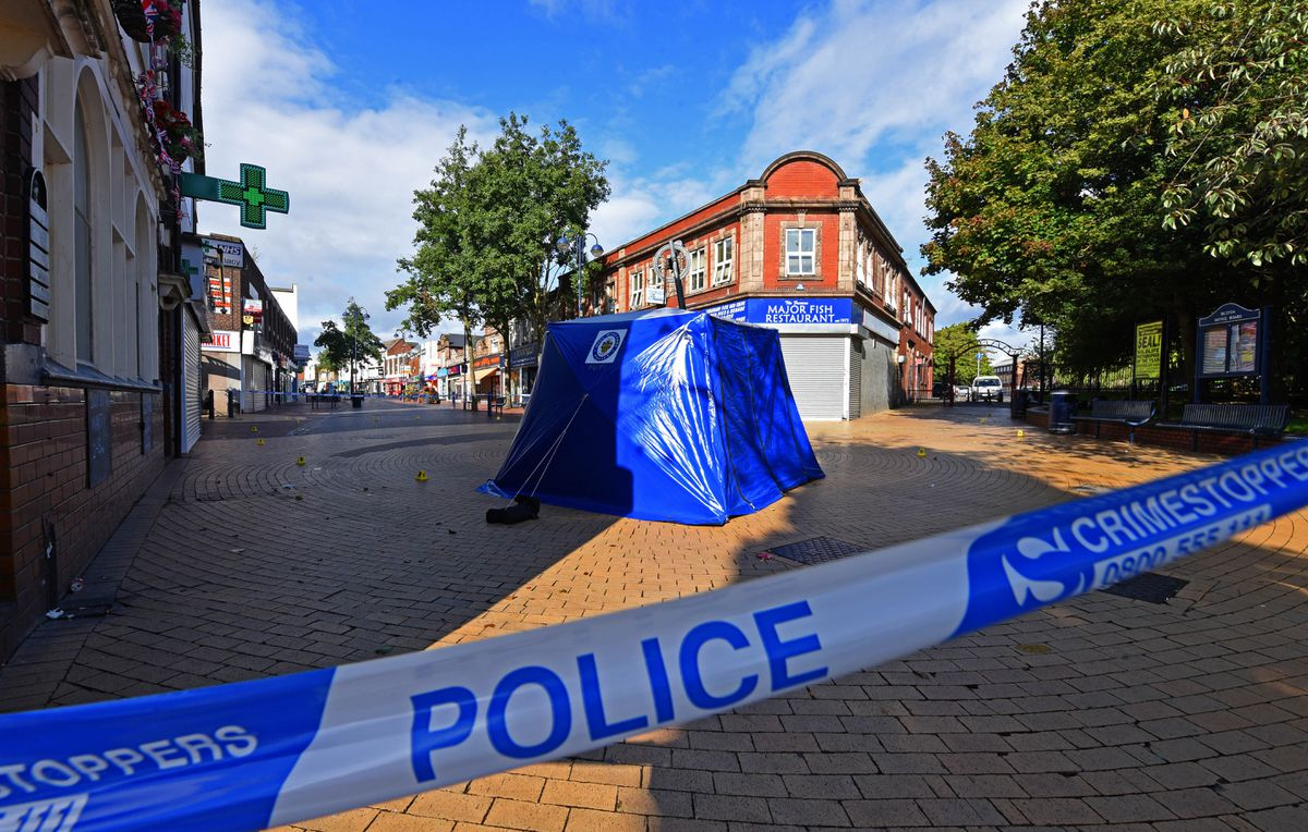A police tent near the Horse & Jockey pub