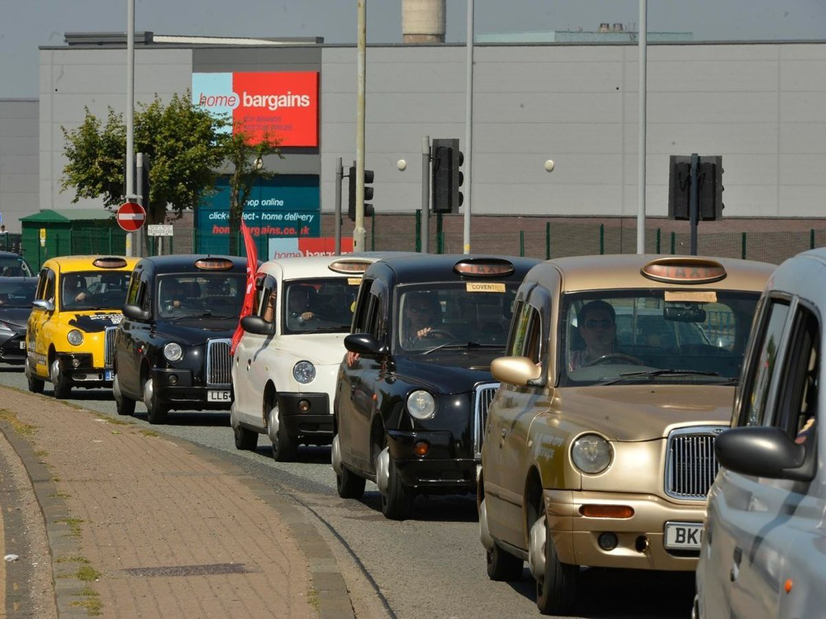 A taxi drivers' protest in Wolverhampton held earlier this year by Coventry cabbies