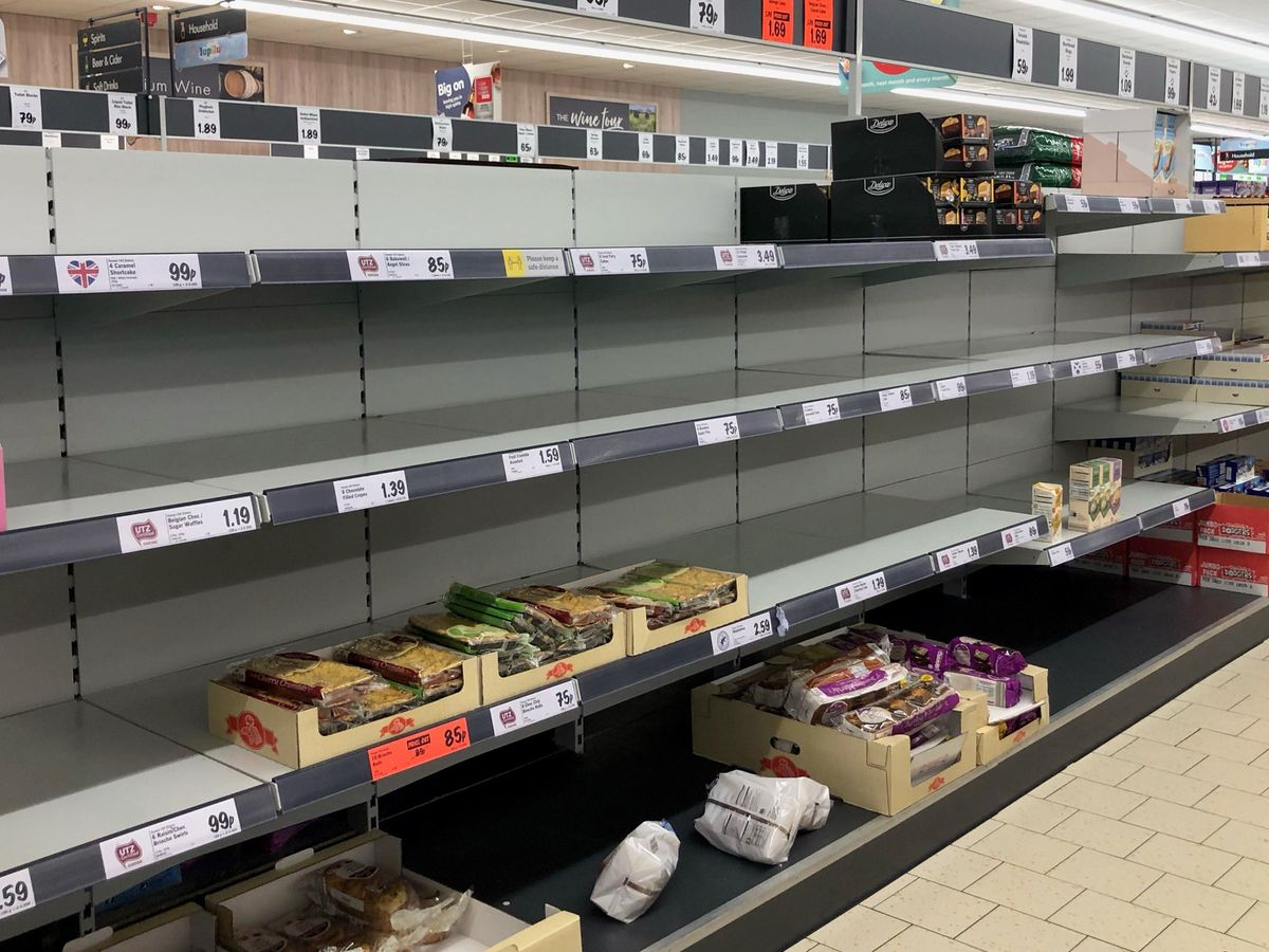 Empty shelves in the Lidl at Pity Me, Durham