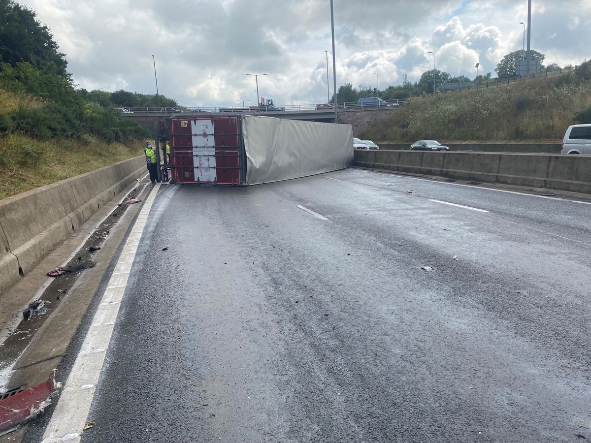 The scene of the lorry crash. Photo: Highways West Midlands