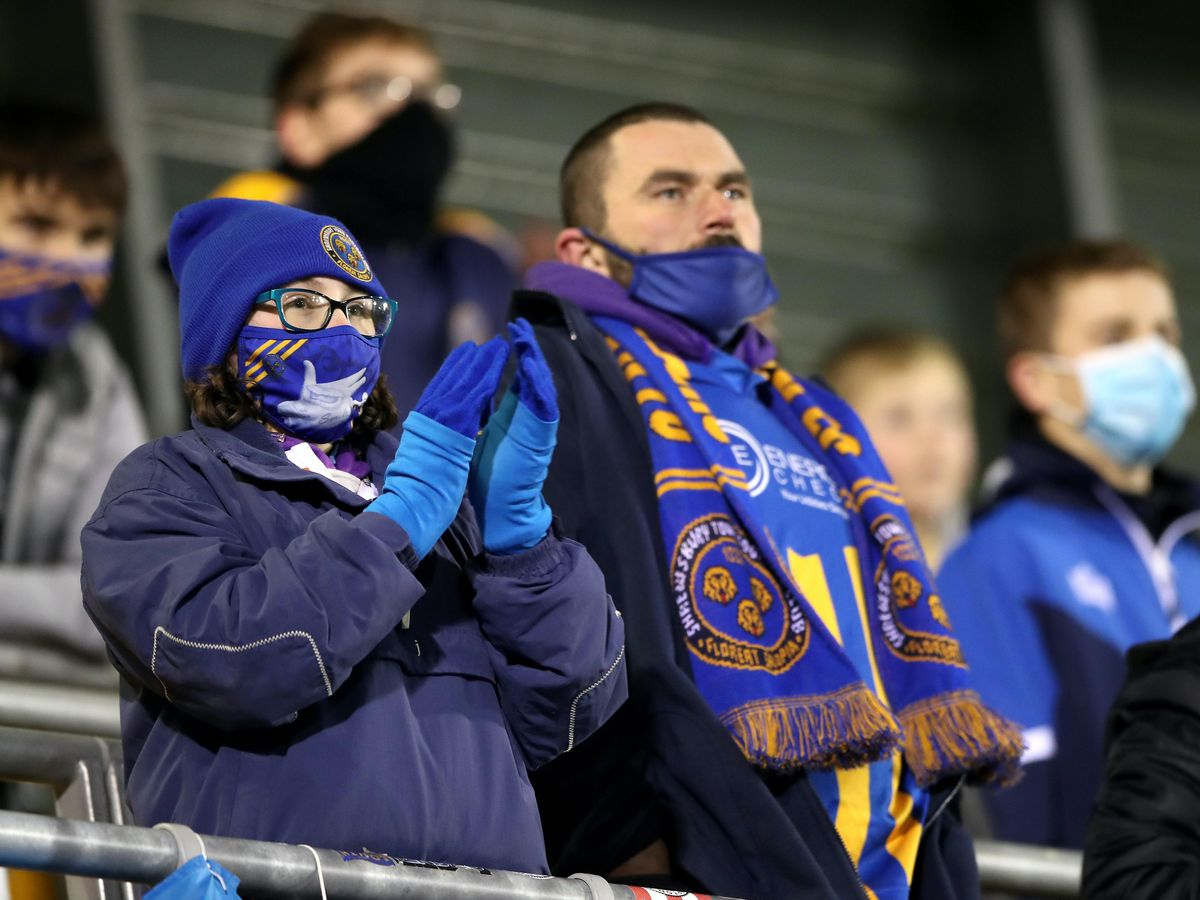 Fans at the match between Shrewsbury Town and Accrington Stanley