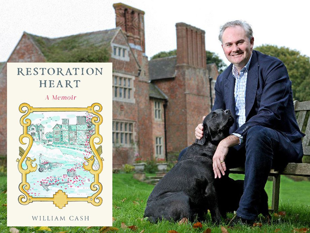 William Cash outside Upton Cressett Hall and, inset, the cover of his new book Restoration Heart