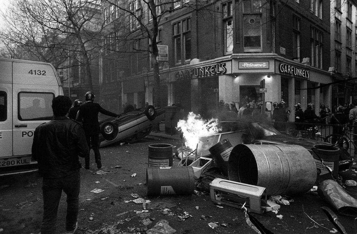 The aftermath of protests in central London.
