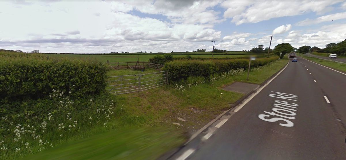 A Google Street View image of the land off the A34 at Redhill north of Stafford where the new Pets At Home warehouse is set to be built