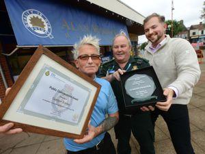 Gordon Tranter, Andy Jeynes with Councillor Adam Davies