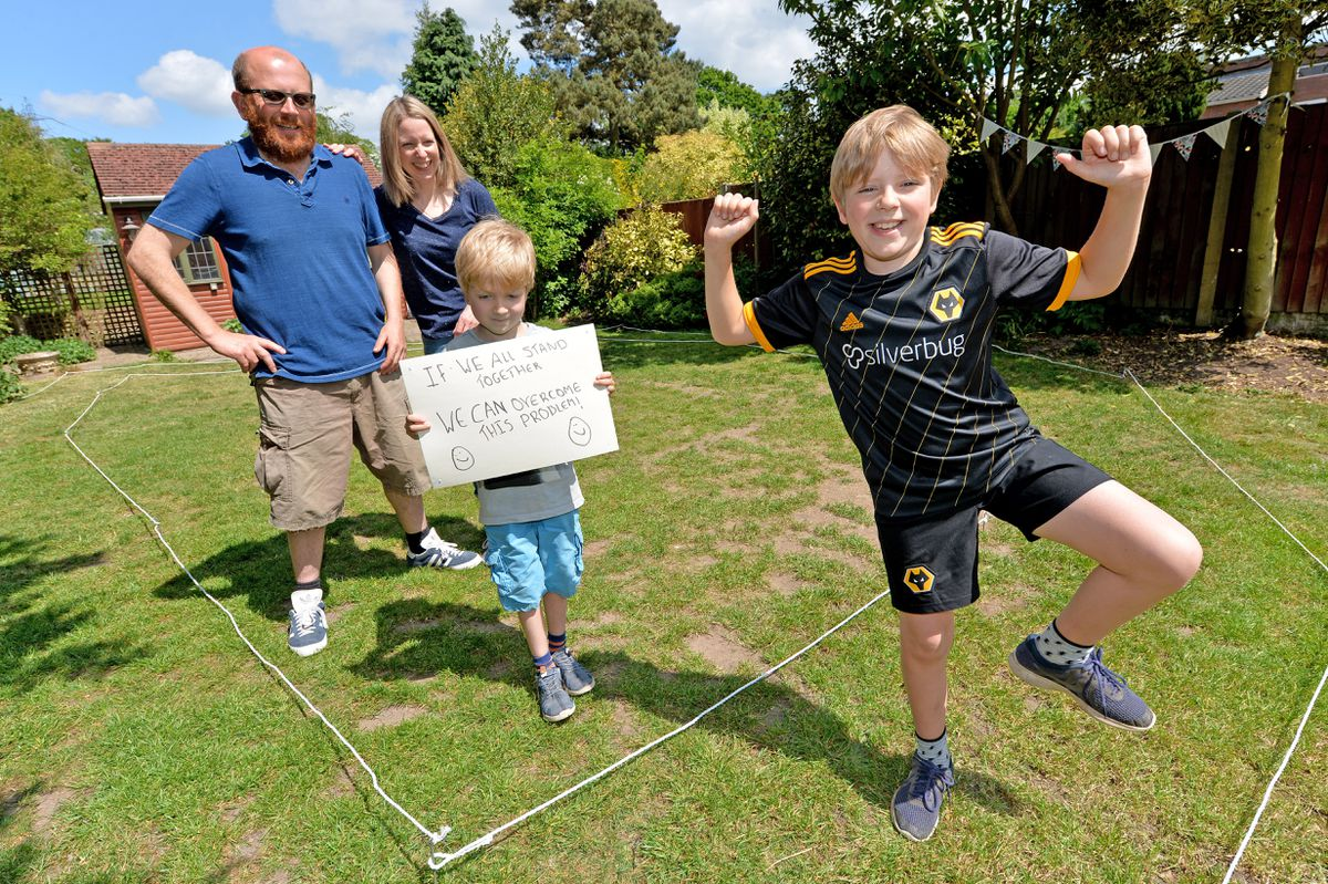 10-year-old George Evans is running a half-marathon around his Codsall back garden to help the people who are working in the NHS to look after everyone who is unwell at the moment. He is pictured with his family (l-r) Rob, Lindsey and Caspar aged six