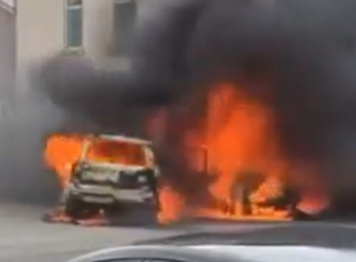 The cars on fire at the scene. Photo: Your Walsall