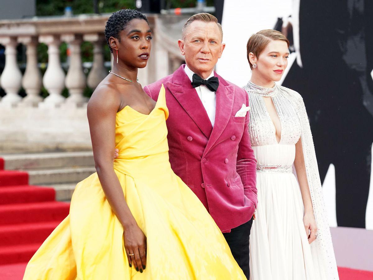 Daniel Craig with No Time To Die co-stars Lashana Lynch and Lea Seydoux