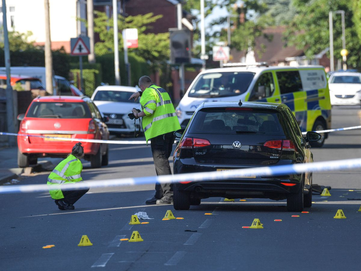 Police at the scene on Prestwood Road in Wolverhampton on Saturday. Photo: SnapperSK