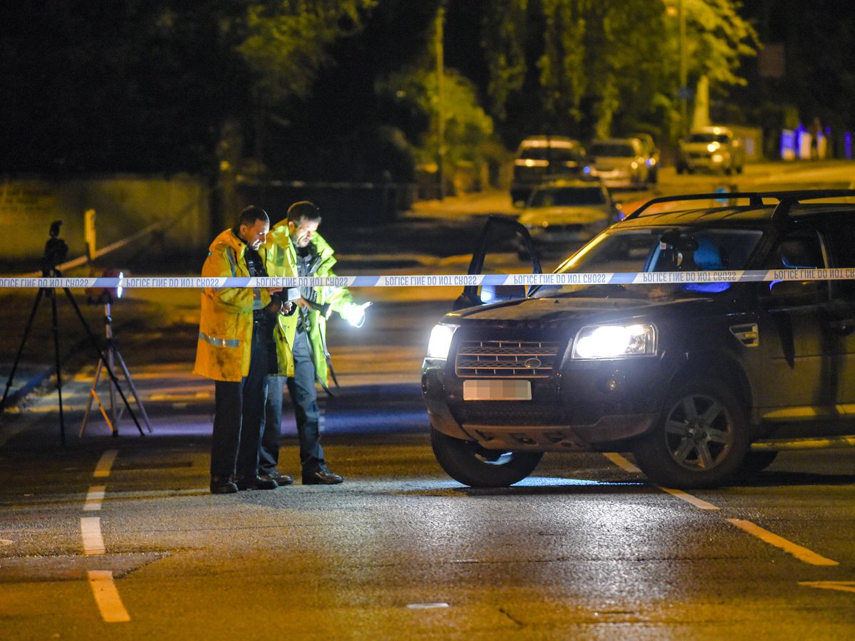 Police cordon off a Land Rover after a pedestrian died in a collision on Tettenhall Road. Picture: @SnapperSK