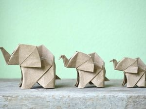 Brown origami elephants