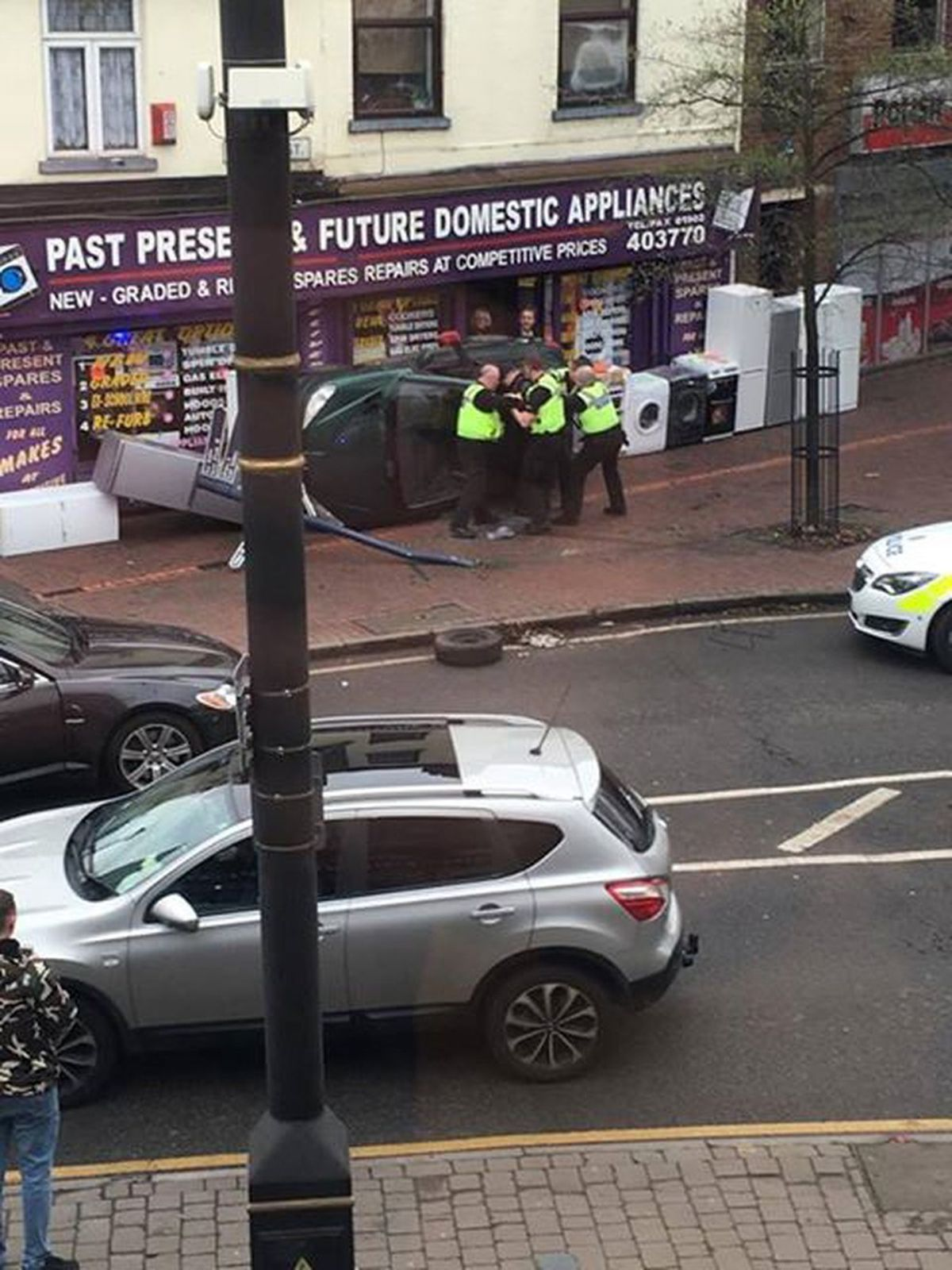 Crash scene in Church Road, Bilston. (Credit picture by Kayleigh Wright)