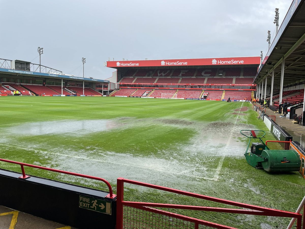 The waterlogged pitch at The Banks's Stadium