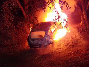 The car fire. Photo: Haden Cross Fire Station