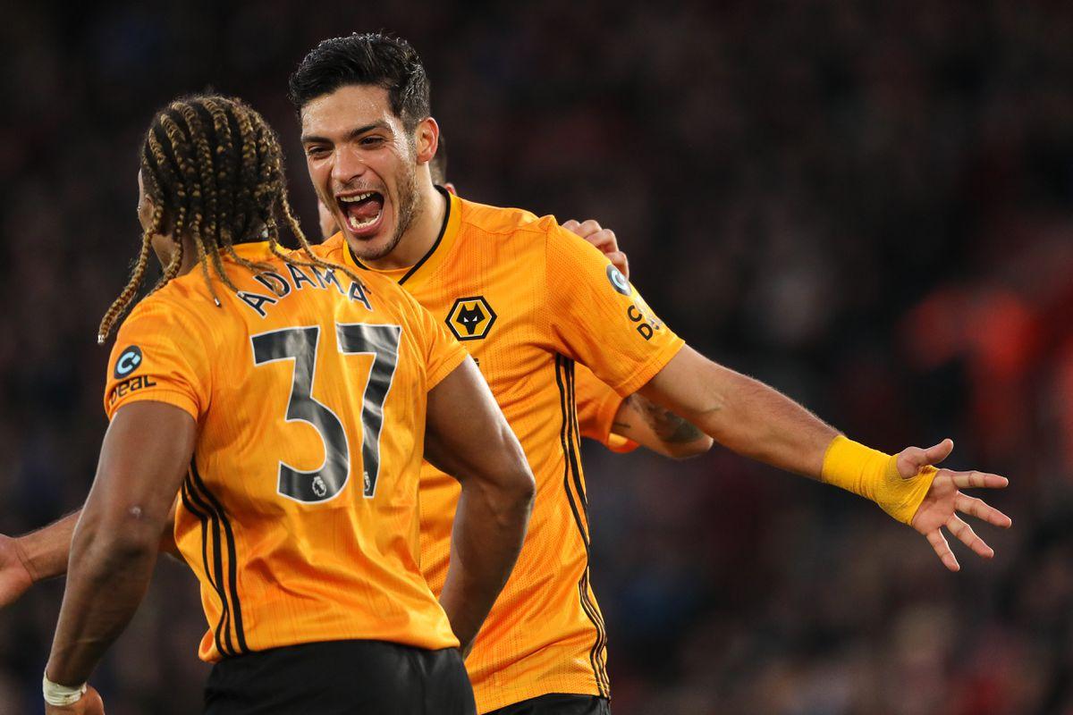 Raul Jimenez of Wolverhampton Wanderers celebrates after scoring a goal to make it 2-3