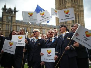 Ex-Thomas Cook employees protest outside Parliament