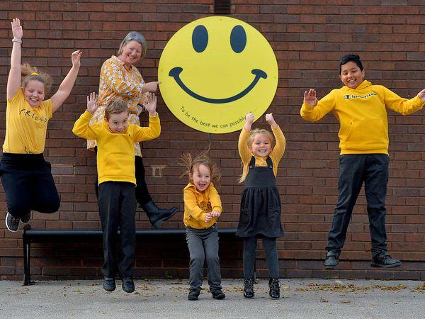 Life coach Nicki Hamilton with pupils Grace Lloyd, 9, Charlie Morris, 8, Emilyn Leach, 4, Lilly Winsper, 5, Avi Bal, 11
