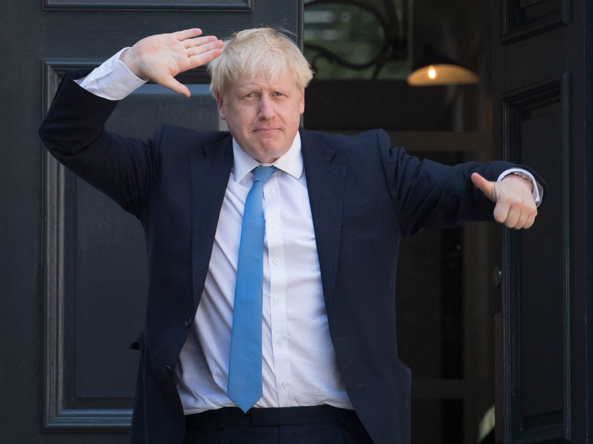 Thumbs up! Boris Johnson was today being confirmed as Prime Minister