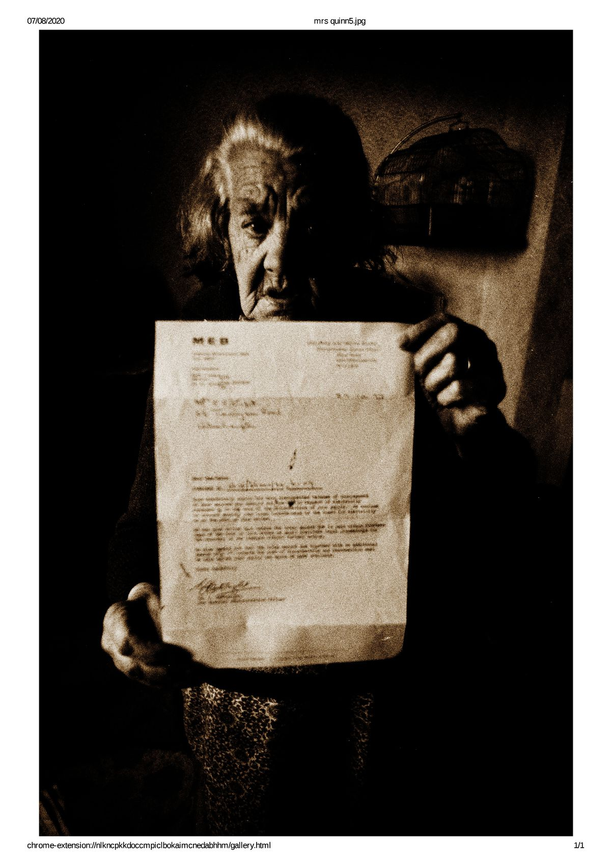 The formidable Mrs Quinn with her unpaid electricity bill