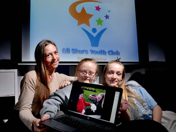 Hayley Turner, from All Stars Youth Club, with her daughters Keeley, 15, and Lea, 11